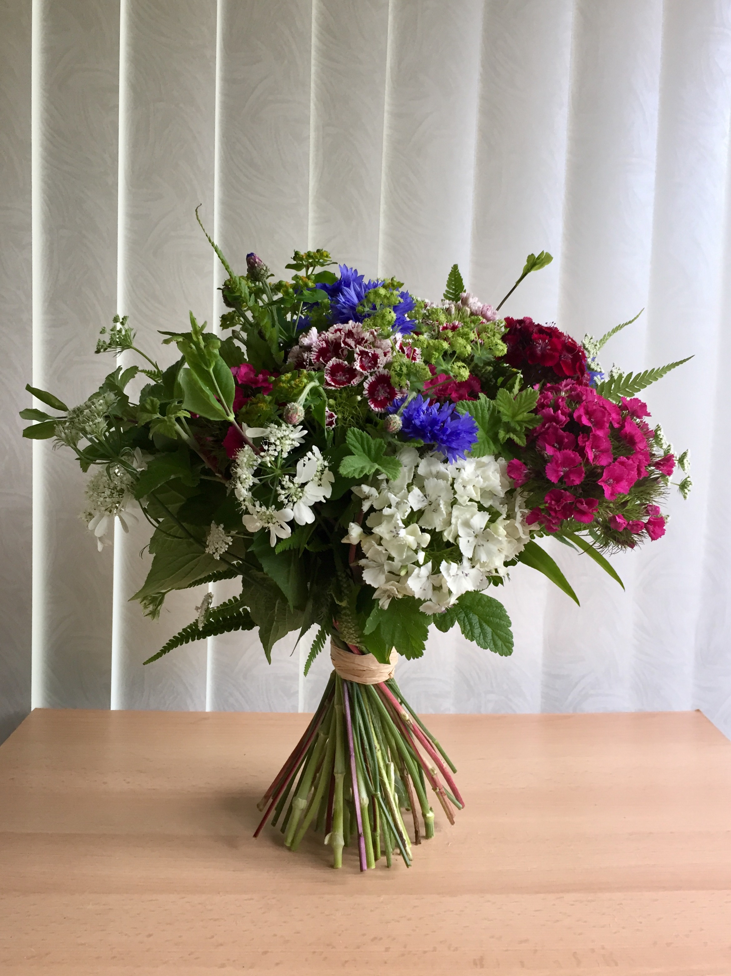 Natural Tied Posy Of British Grown Flowers Neilbainfloristry