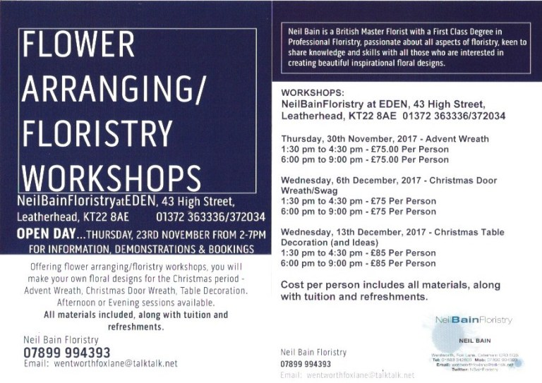 NeilBainFloristry Christmas Workshop Flyer